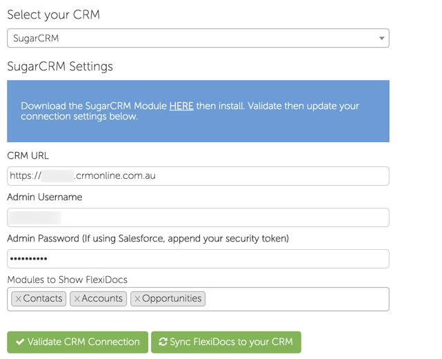 Configure your SugarCRM Connection