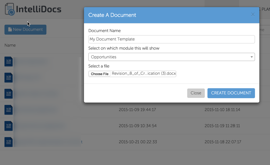 Create a new Document Template