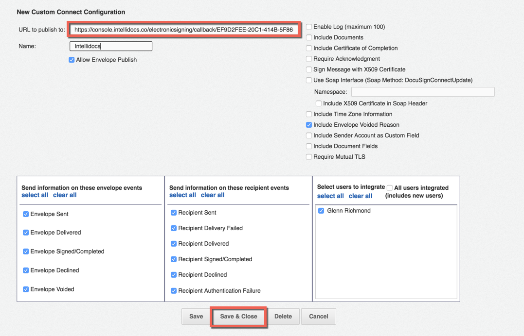 Docusign Custom Connect Settings