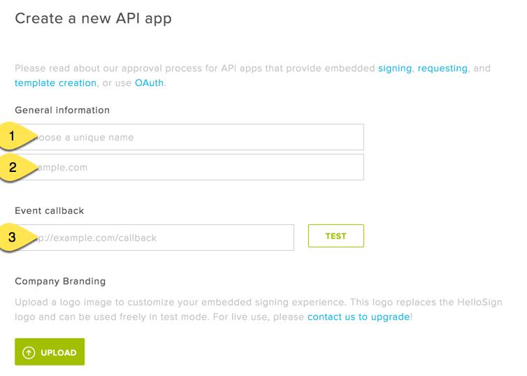 Create New Hellosign App