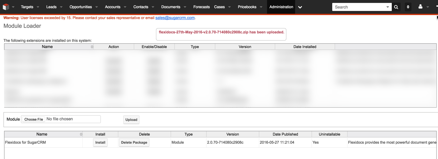Install the SugarCRM module